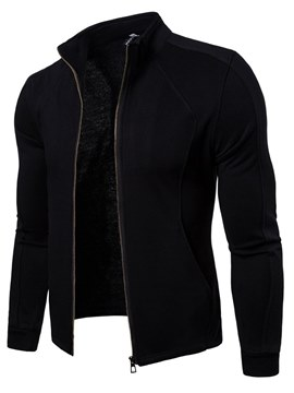 Ericdress Plain Stand Collar Zipper Slim Mens Cardigan Hoodies