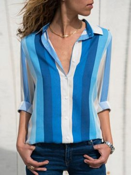Ericdress Stripe Mid-Length Casual Loose Long Sleeve Blouse