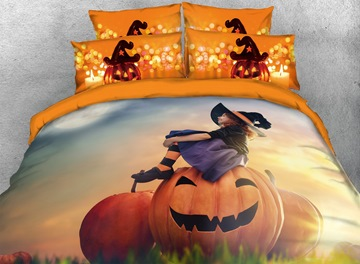 3D Smiling Pumpkin and Witch Halloween Digital Printing Cotton 4-Piece Bedding Sets/Duvet Covers