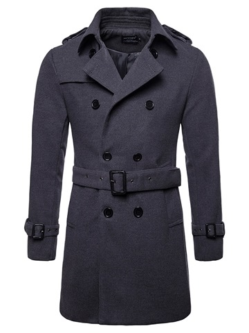 Ericdress Plain Slim Mid-Length Mens Wool Peacoat With Belt
