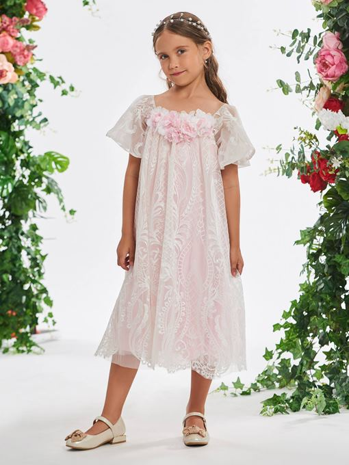 Ericdress Short Sleeves Flowers Tea-Length Girl's Party Dress