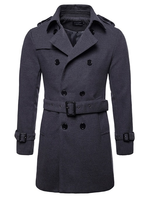 Ericdress Plain Slim Mid-Length Mens Wool Pea Coat With Belt