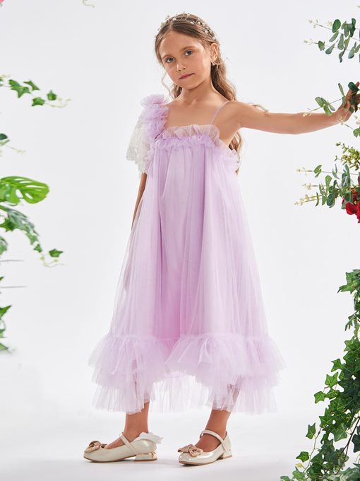 Ericdress Lace Sleeve Flowers Ruffles Tea-Length Girl's Party Dress