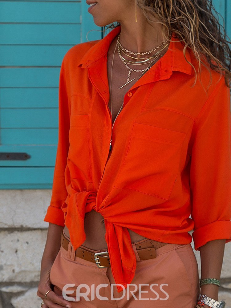 Ericdress Loose Lapel Casual Single-Breasted Blouse