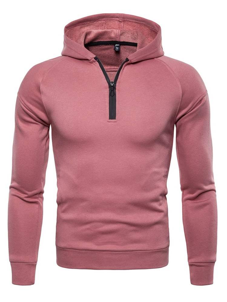 Ericdress Plain Quarter Zip Hooded Pullover Mens Casual Hoodies