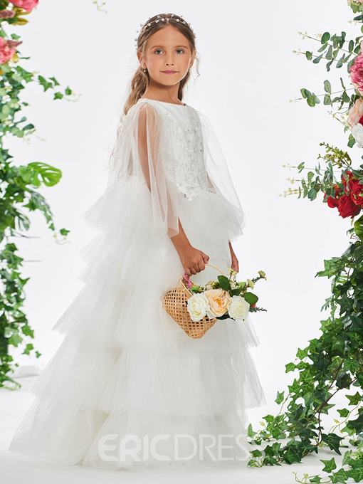 Ericdress Appliques Tiered Ball Gown Flower Girl Dress