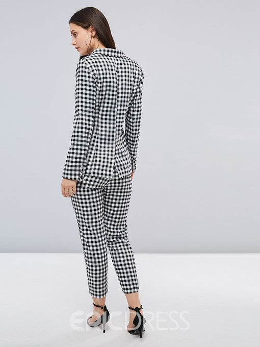 Ericdress Plaid Button Office Lady Women's Two Piece Set