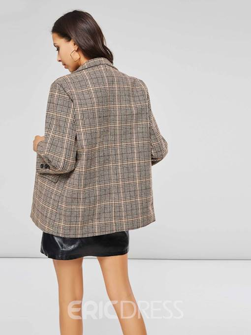 Ericdress Double-Breasted Plaid Mid-Length Casual Blazer