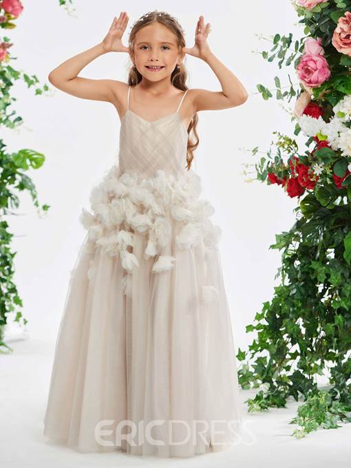 Ericdress Spaghetti Straps 3D Floral Flower Girl Dress