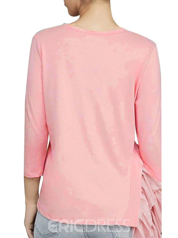 Ericdress Patchwork Casual Scoop Loose Long Sleeve T-shirt