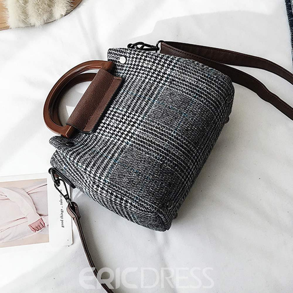 Ericdress Plaid Knitted Zipper Synthetic Leather Handbag