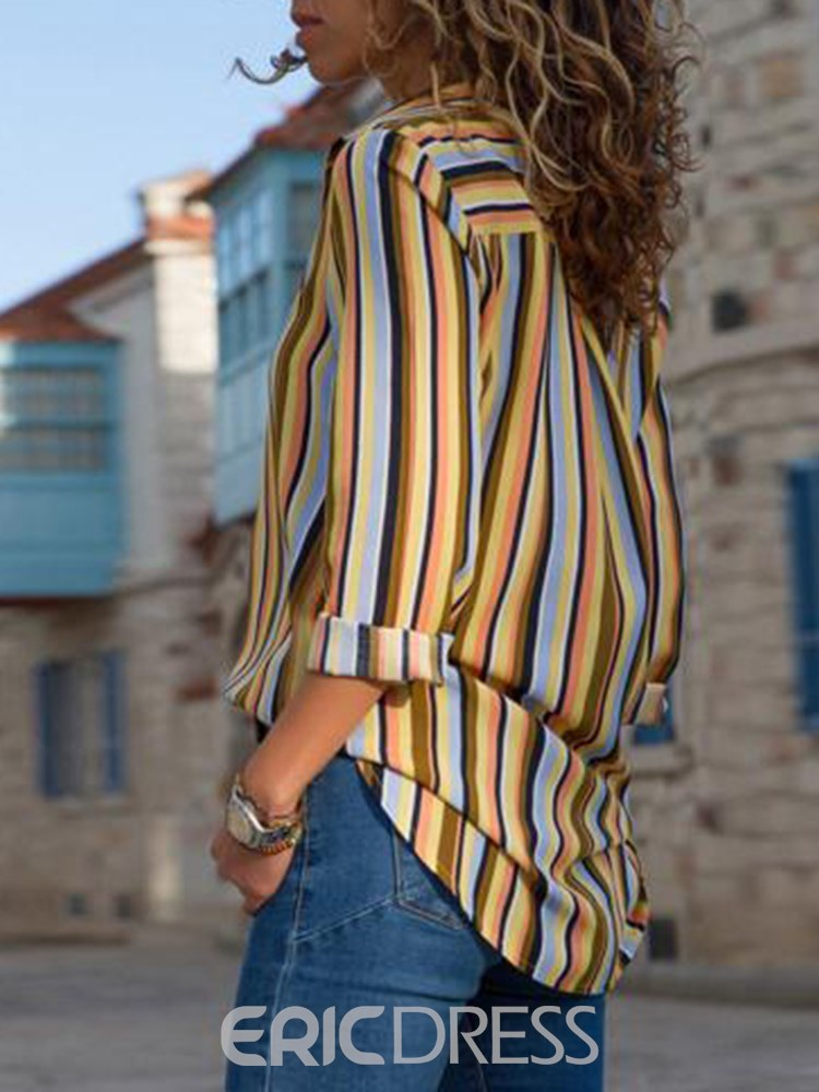 Ericdress Stripe Loose Mid-Length Long Sleeves Blouse