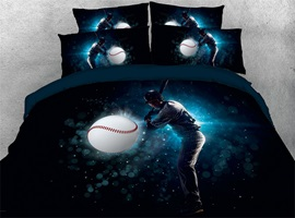 3D Athlete Ready Hits Baseball Digital Printed Cotton 4-Piece Bedding Sets/Duvet Covers