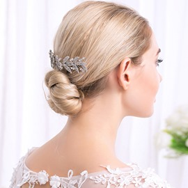 Ericdress Leaf Diamante Comb