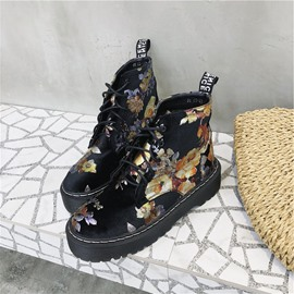 Ericdress Floral Lace-Up Block Heel Front Women's Boots