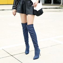 Ericdress Denim Pointed Toe Stiletto Heel Over The Knee Boots