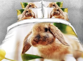 3D Brown Cute Rabbit Digital Printed Cotton 4-Piece Bedding Sets/Duvet Covers