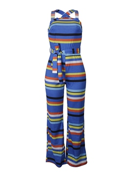 Ericdress Lace-Up Striped Color Block Skinny Jumpsuit