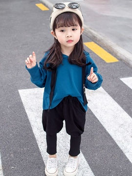 Ericdress Plain Hoodies & Pants Baby Girl's Casual Sports Outfits