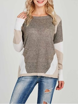 Ericdress Simple Standard Scoop Color Block T-shirt