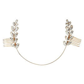 Ericdress Leaf Rhinestone Wedding Bride Hair Comb