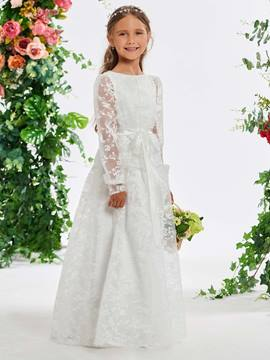 Ericdress Long Sleeves Lace Flower Girl Dress