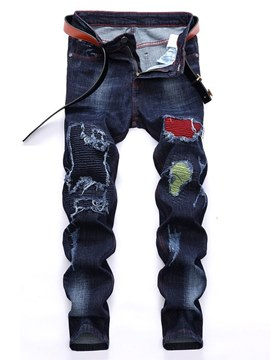 Ericdress Patchwork Pleated Worn Mens Casual Straight Jeans