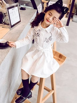 Ericdress Cartoon Printed Lace Up A-Line Girl's Casual Dress