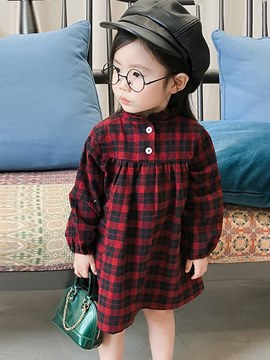 vestido casual ericdress plaid collar pullover niña