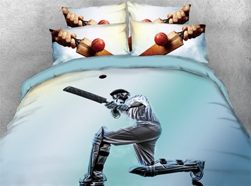 3D Athlete Catching Ball Digital Printed Cotton 4-Piece Bedding Sets/Duvet Covers