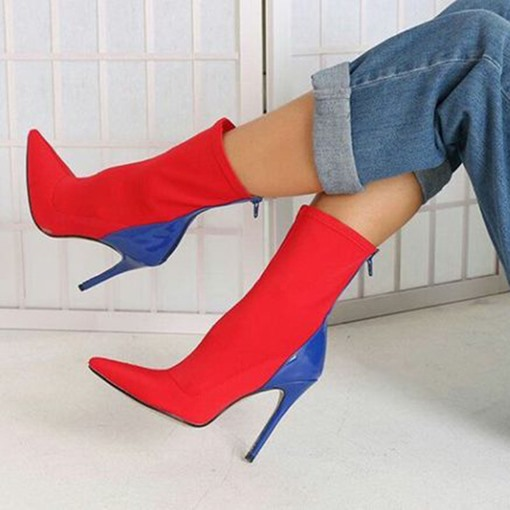 Ericdress Pointed Toe Back Zip Stiletto Heel Women's Boots