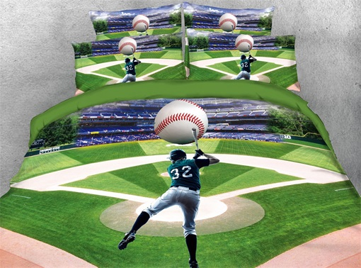 3D Player Hits Baseball on the Court Printed Green Cotton 4-Piece Bedding Sets/Duvet Covers