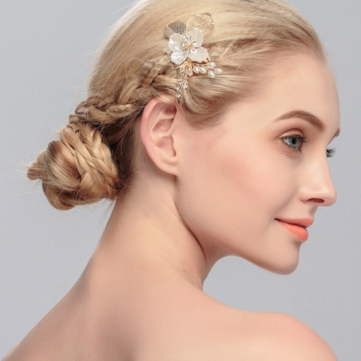Ericdress Shell Floral Bride Pearl Tiara