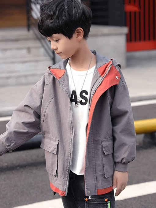 Ericdress Hooded Zipper Pocket Color Block Boy's Casual Trench Coat