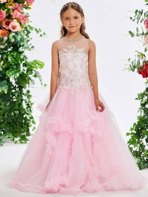 Ericdress Pearls Jewel Neck Appliques Girl's Party Dress