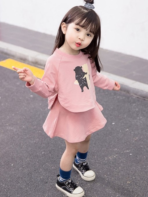 Ericdress Cartoon Printed T Shirts & Skirt Baby Girl's Outfits