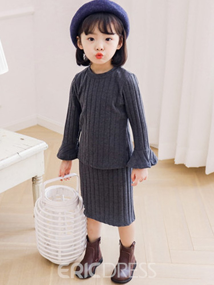 Ericdress Plain Thread Casual Sweater & Skirt Girl's Outfits