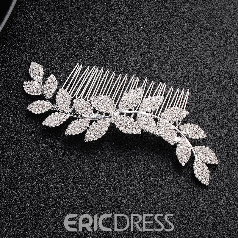 Ericdress Leaf Diamante Bride Hair Comb