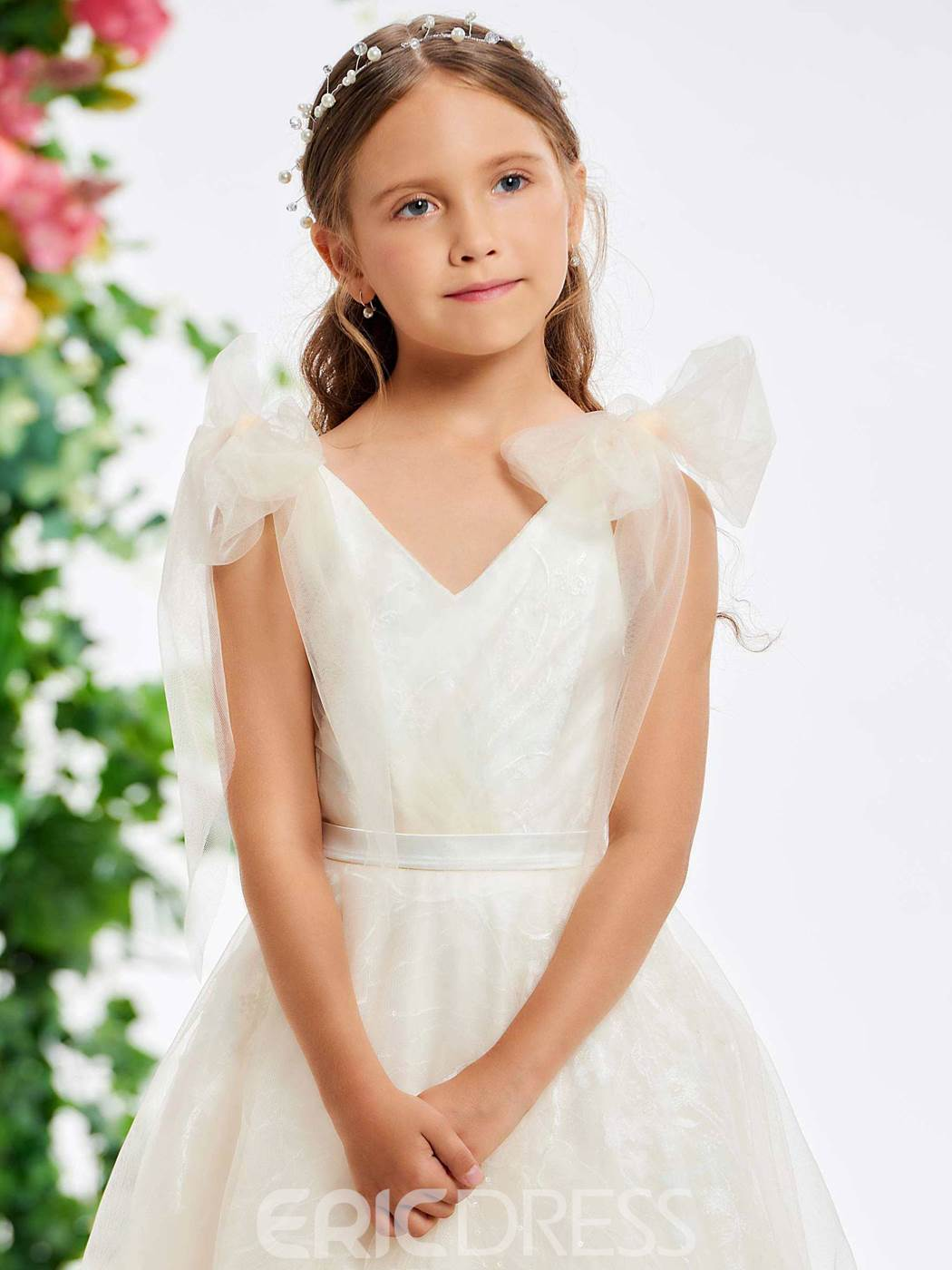 Ericdress A Line Bowknot Straps Lace Flower Girl Dress
