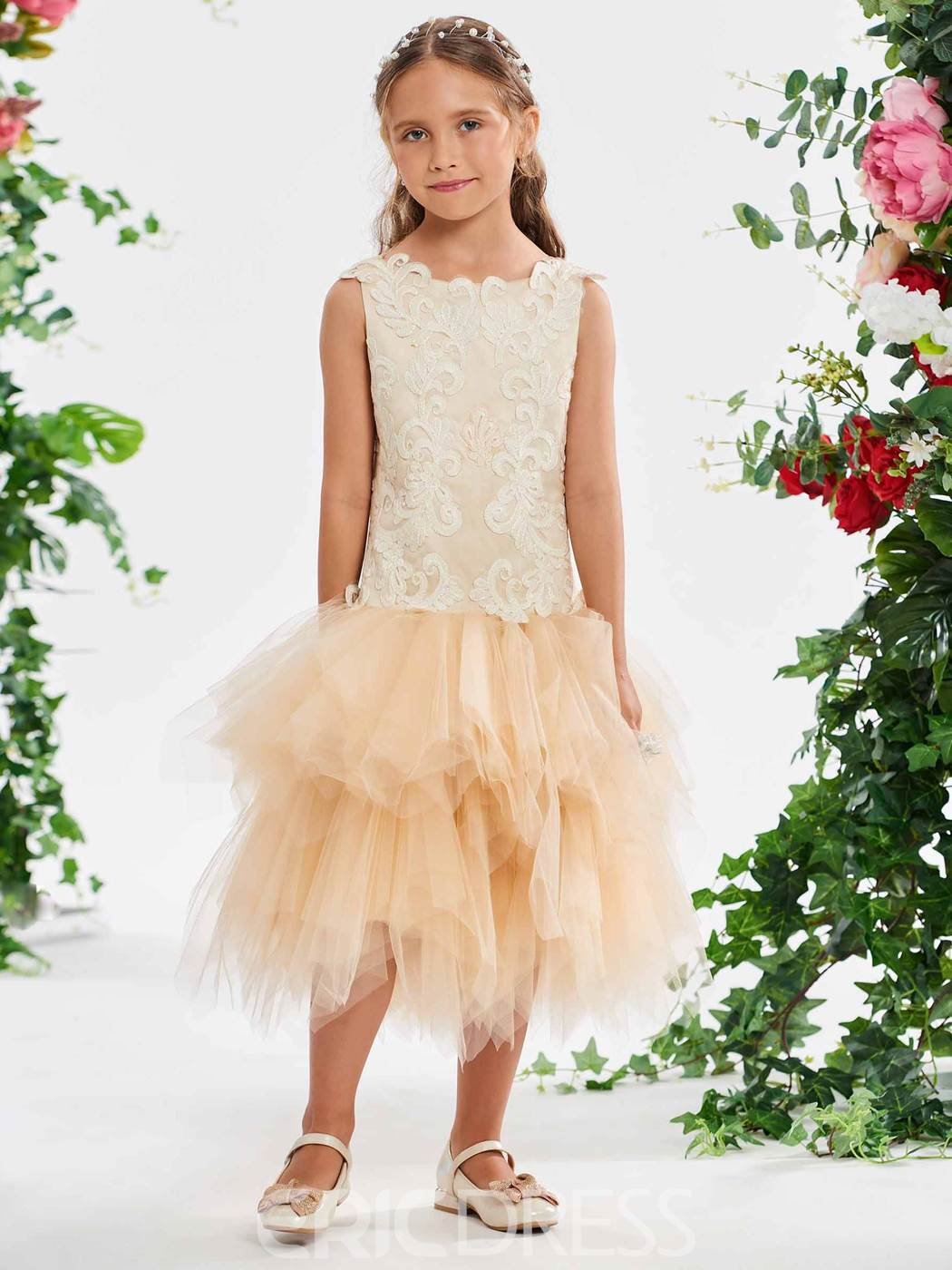 Ericdress Lace Applique Tea Lenth Flower Girl Ball Gown