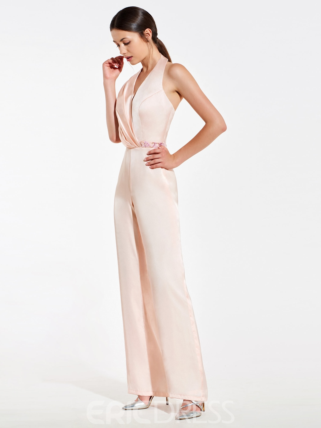 Ericdress Halter Beading Backless Bridesmaid Jumpsuits