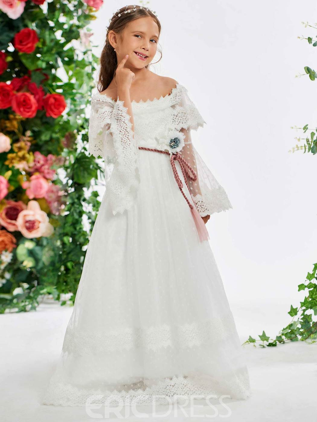 Ericdress Off the Shoulder Sashes Lace Flower Girl Dress