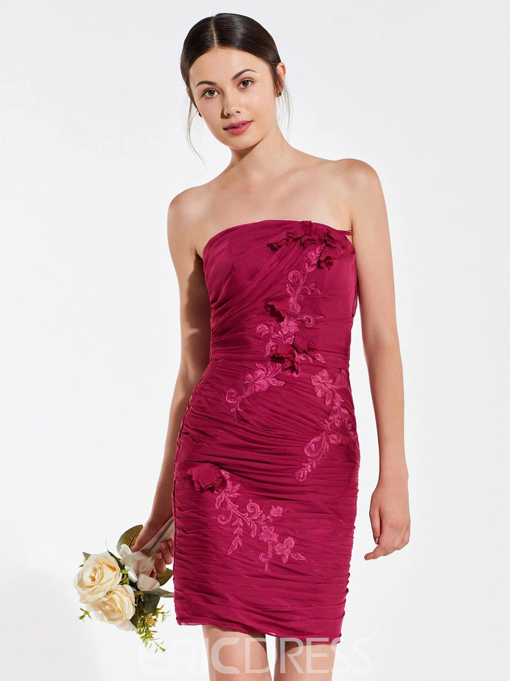 Ericdress Appliques Strapless Short Column Bridesmaid Dress