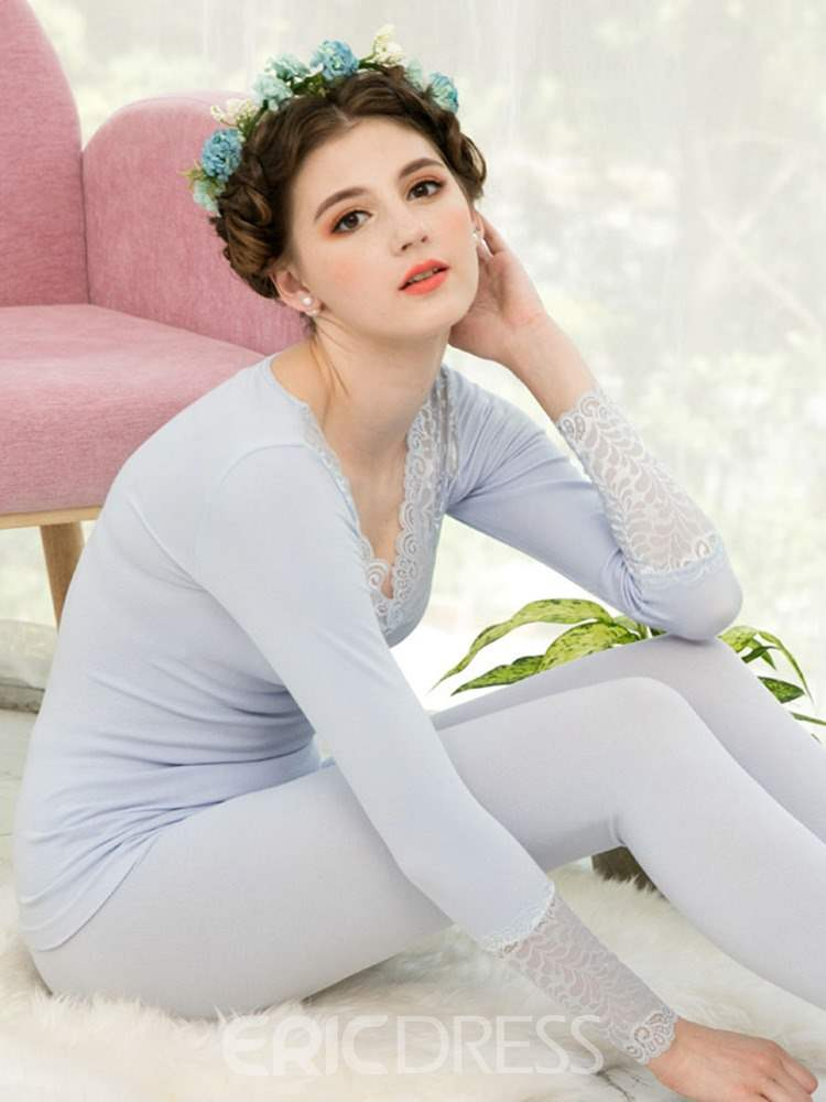 Ericdress Plain Long Sleeve Full Length Thermal Underwear for Women