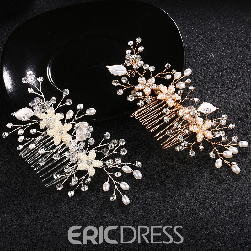 Ericdress Wedding Floral&Leaf Floral Pearl Hairpin