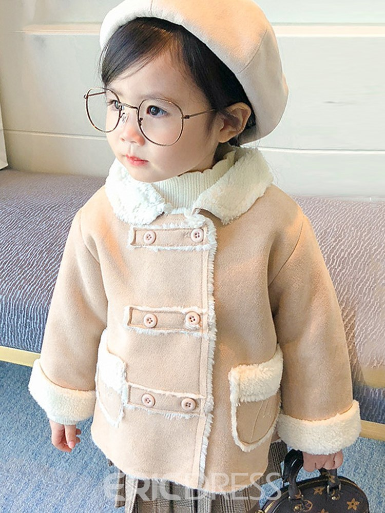 Ericdress Patchwork Lapel Double Breasted Plain Baby Girl's Warm Coat