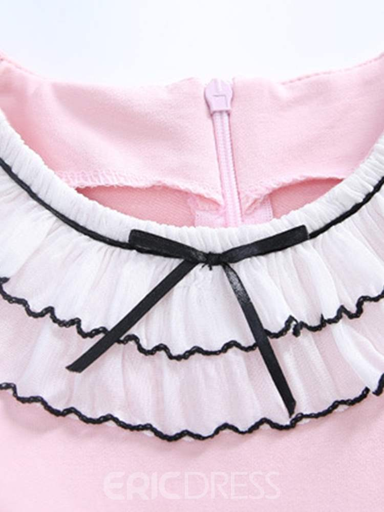 Ericdress Patchwork Lace Up Ruffled Collar Girl's Casual Dress