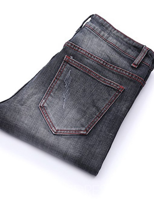 Ericdress Patchwork Plain Gray Pleated Mens Casual Straight Jeans