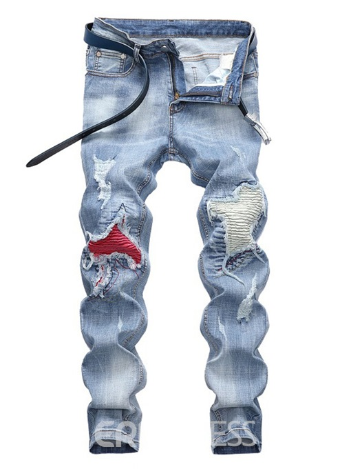Ericdress Patchwork Light Blue Pleated Mens Casual Jeans