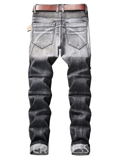 Ericdress Pleated Zipper Worn Straight Mens Casual Jeans